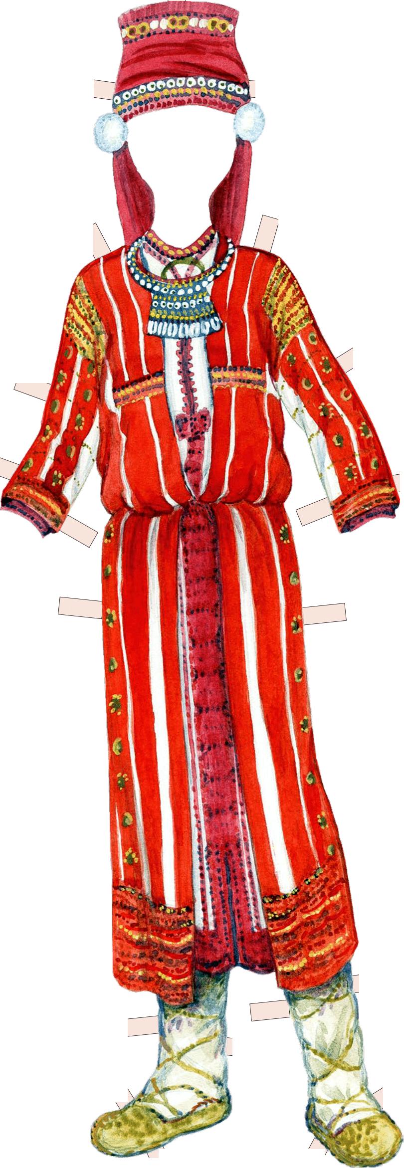 Костюм невесты-эрзянки. Конец XIX в. Пензенская губерния, Городищенский уезд, с. Ега.