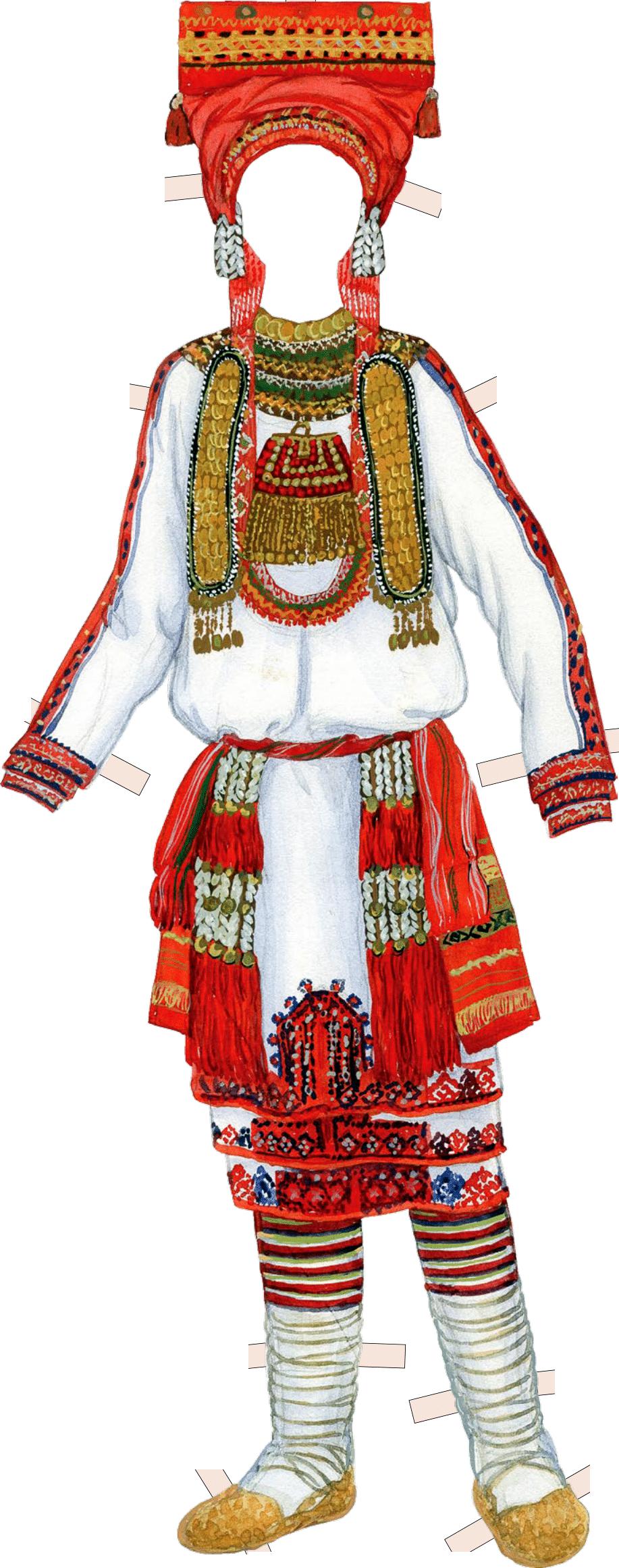 Костюм невесты-мокшанки. Конец XIX в. Пензенская губерния, Краснослободский уезд.